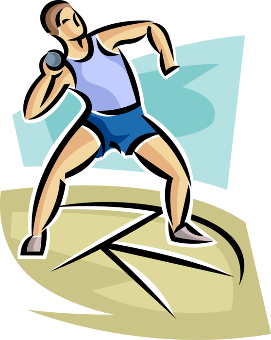 Track competitor throws shot. Jumping clipart athletic meet