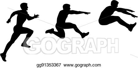 Eps vector long jump. Jumping clipart athletic person
