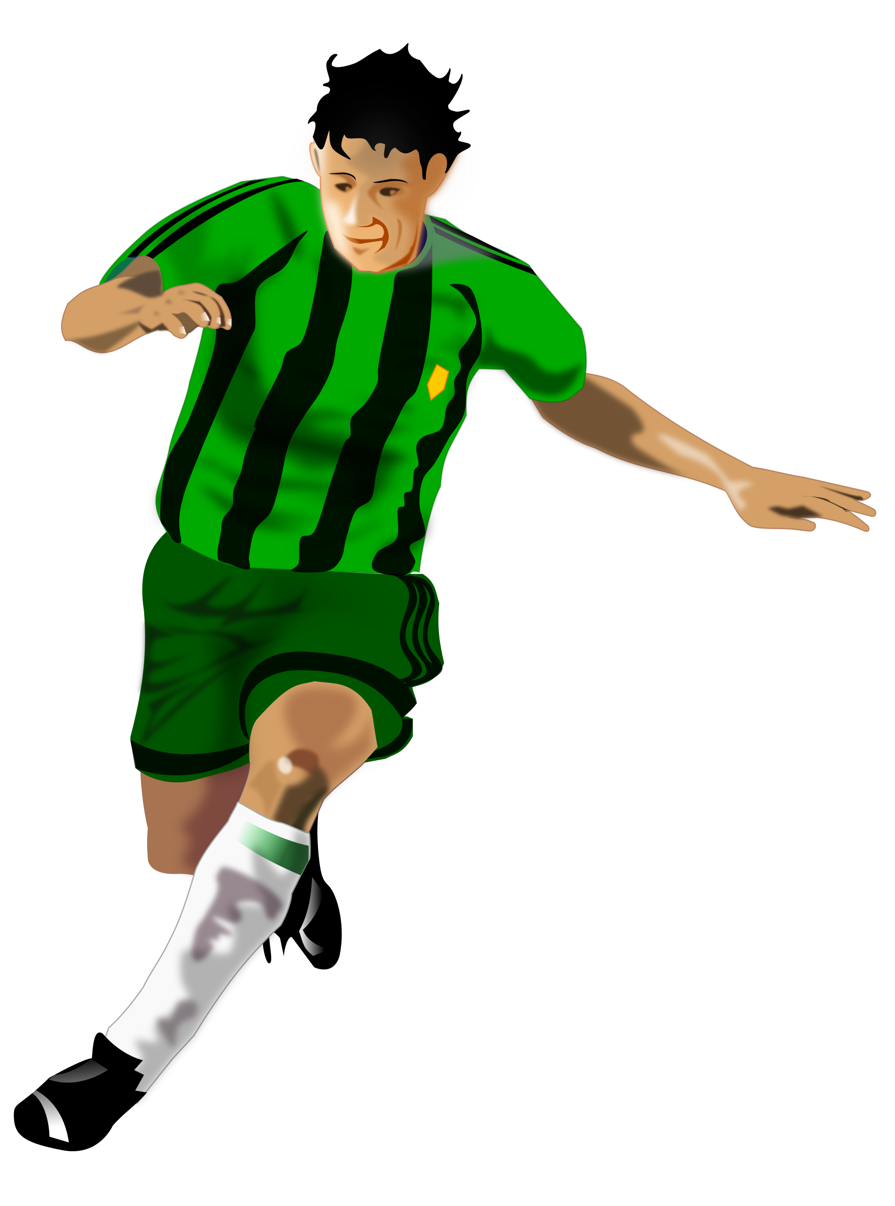 Sports clipart soccer. Player green black big