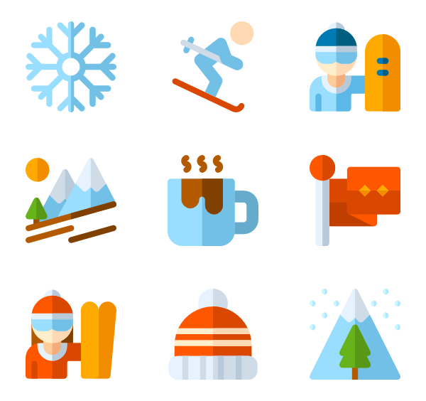 Ski icons free vector. Winter clipart sport