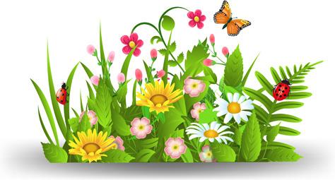 5 clipart spring. Flowers border clip art