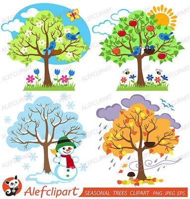 Tree clipart summer season. Four seasons trees and