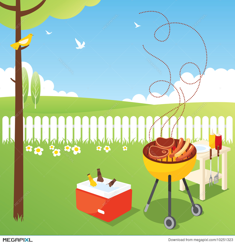 Bbq party illustration megapixl. Grilling clipart spring