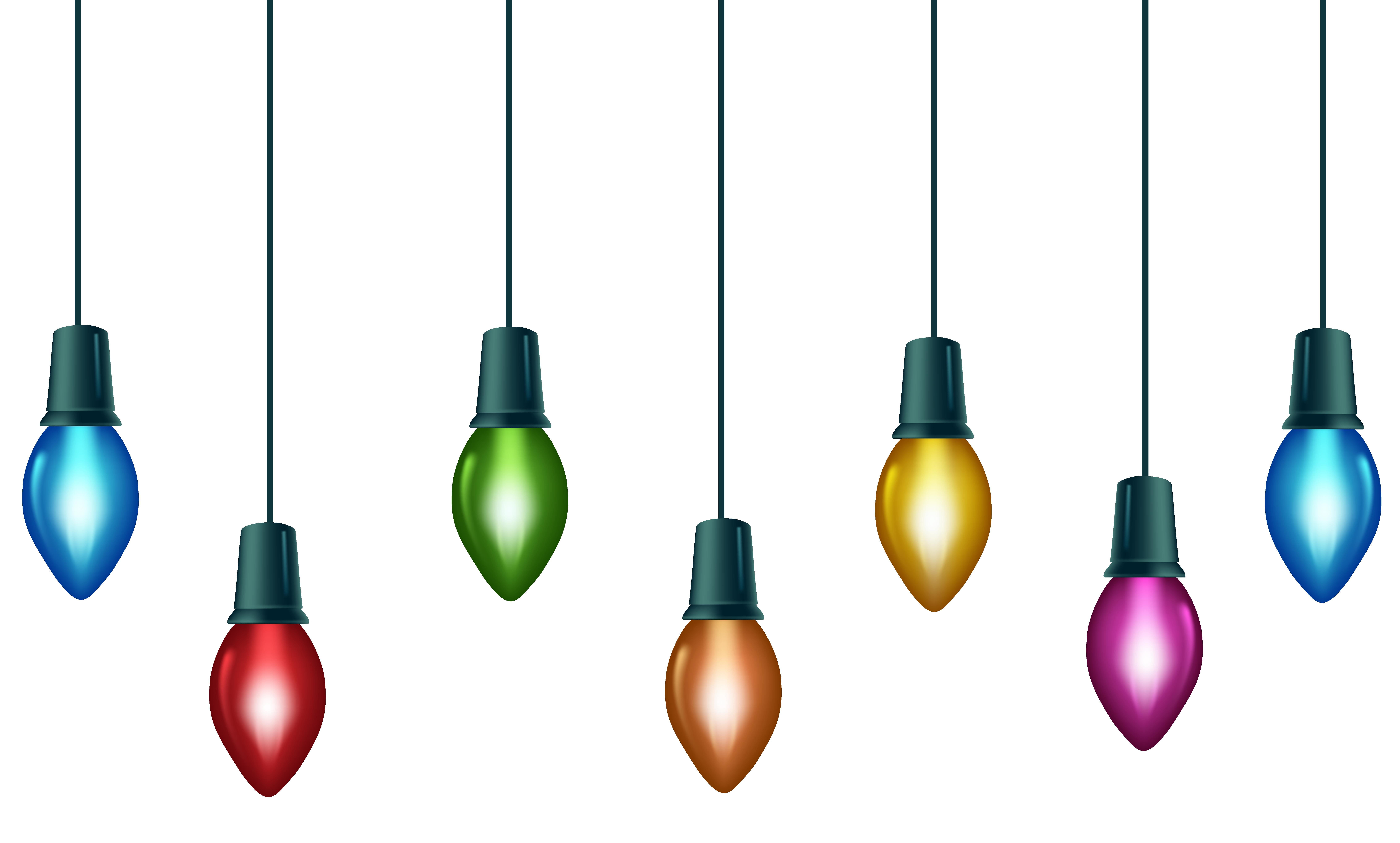 Colorful bulbs clip art. Christmas light border png