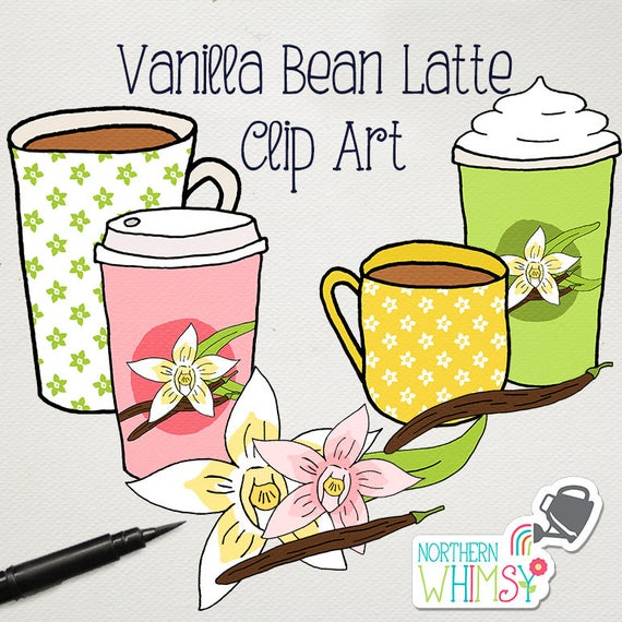 Clip art vanilla bean. Coffee clipart spring