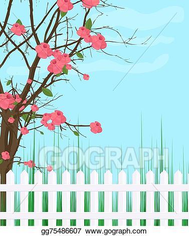 Vector illustration garden background. Fence clipart spring