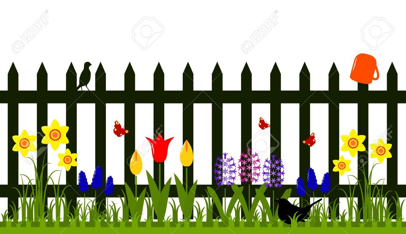 Stock vector flowers in. Fence clipart garden fence