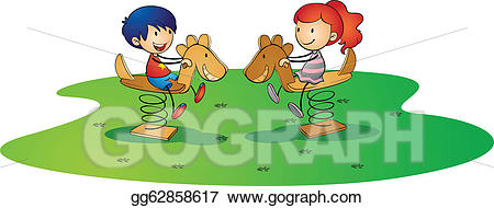 Horse clipart spring. Vector kidsplaying on