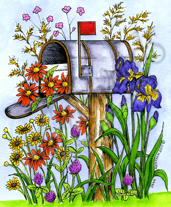 P with irises and. Mailbox clipart spring