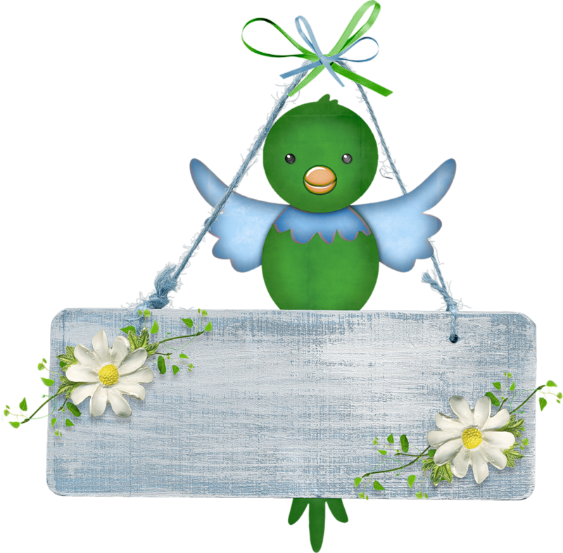 Hanging bird with blank. Treasure clipart empty
