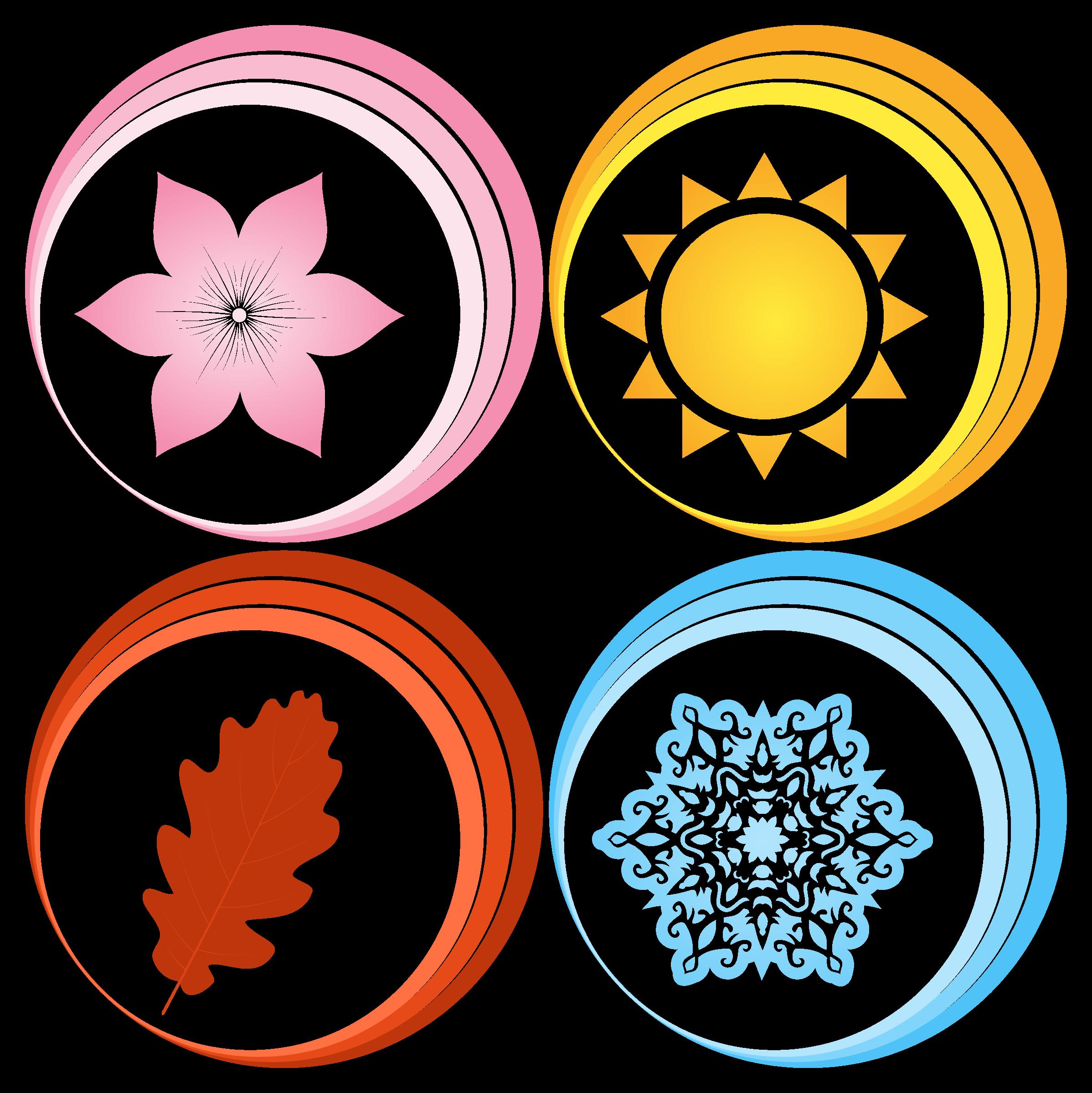 Four symbols big image. Words clipart seasons