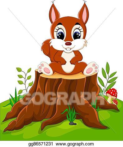 Clipart squirrel baby squirrel. Vector stock cartoon cute