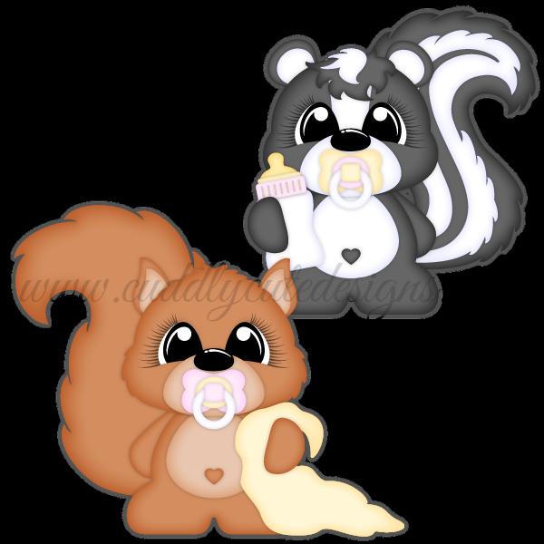 Babies snuggle skunk. Clipart squirrel baby squirrel