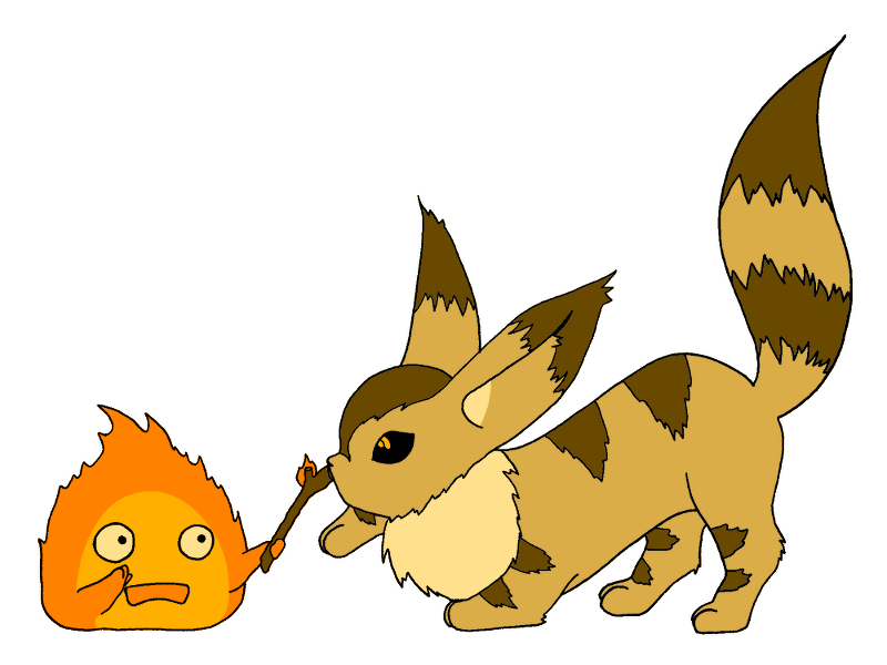 Moving clipart squirrel. Calcifer and fox by