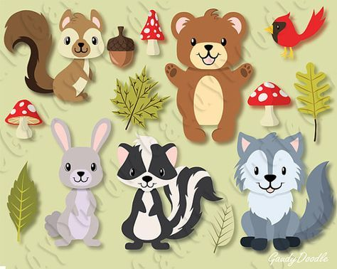Woodland forest animals bear. Clipart squirrel rabbit