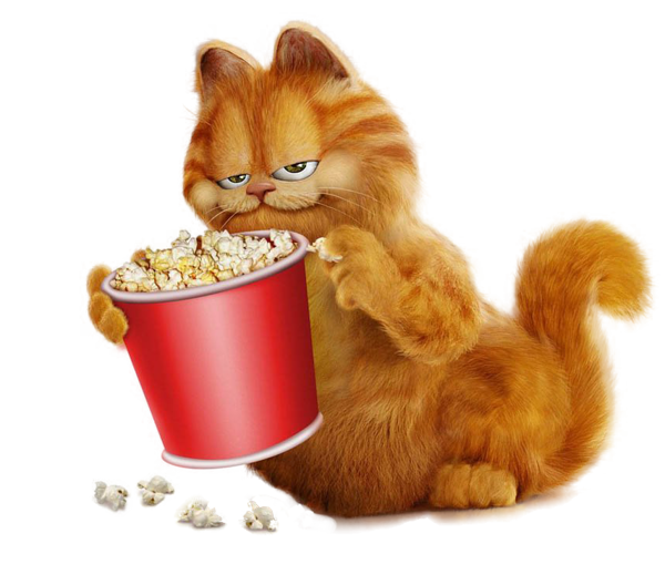 Garfield with png pinterest. Free clipart popcorn