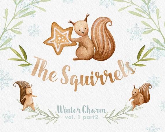 Clipart squirrel winter. Clip art watercolor wreath