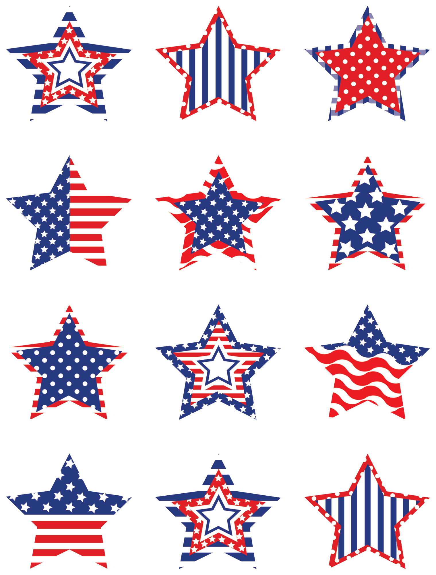 Clipart star accent. Patriotic stars mini accents