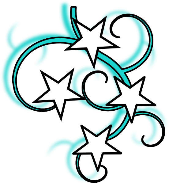 Electric clipart black and white. Teal tattoo with stars