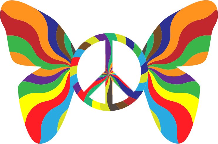 Groovy peace sign medium. Clipart star butterfly