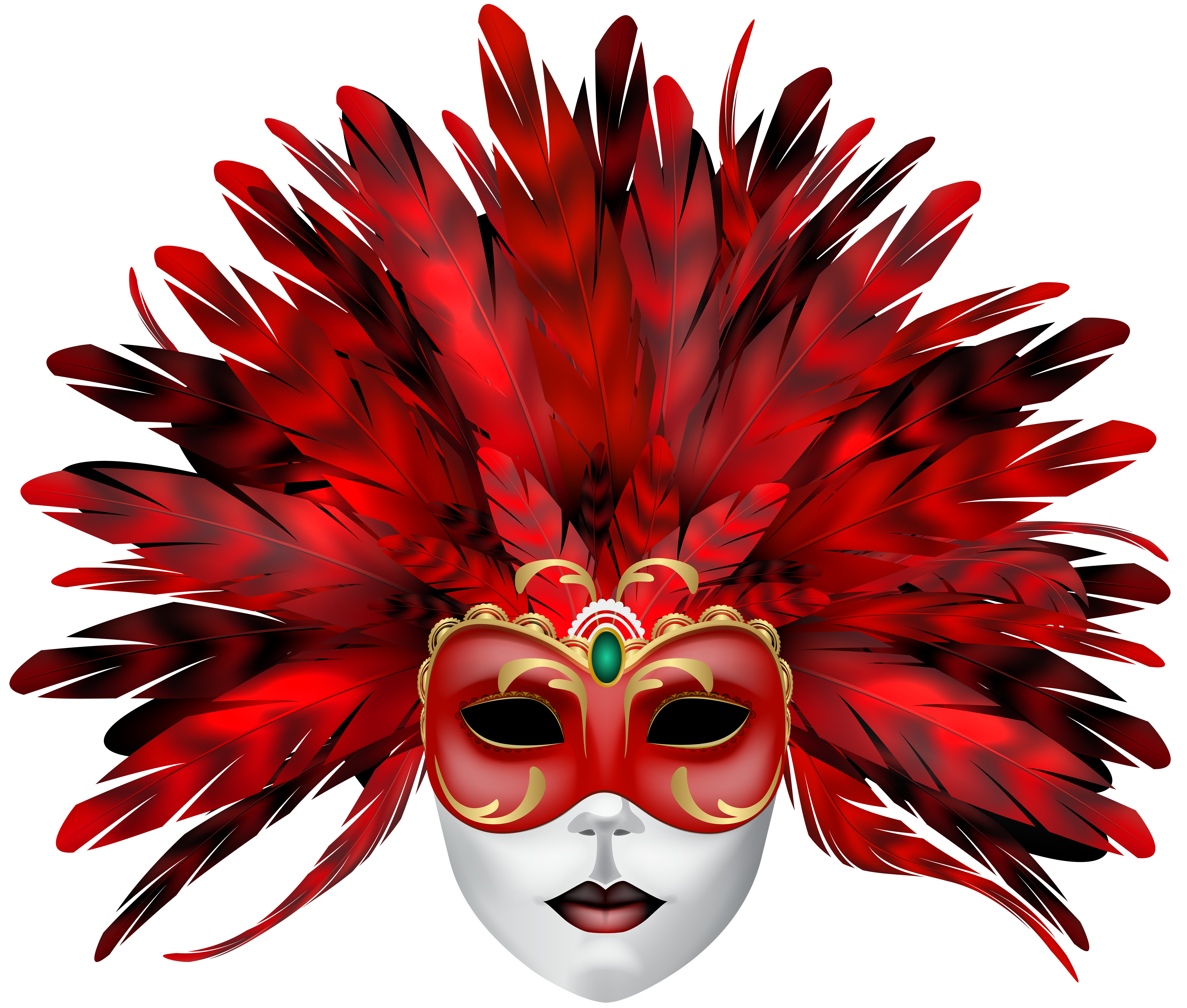 Feather clipart carnival. Mask red png clip