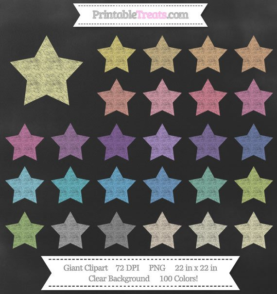 Giant chalk colors bonus. Clipart star chalkboard