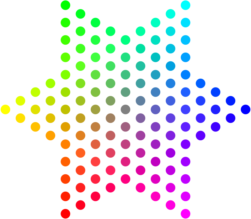 Dot clipart circle. Color dots hexagram medium