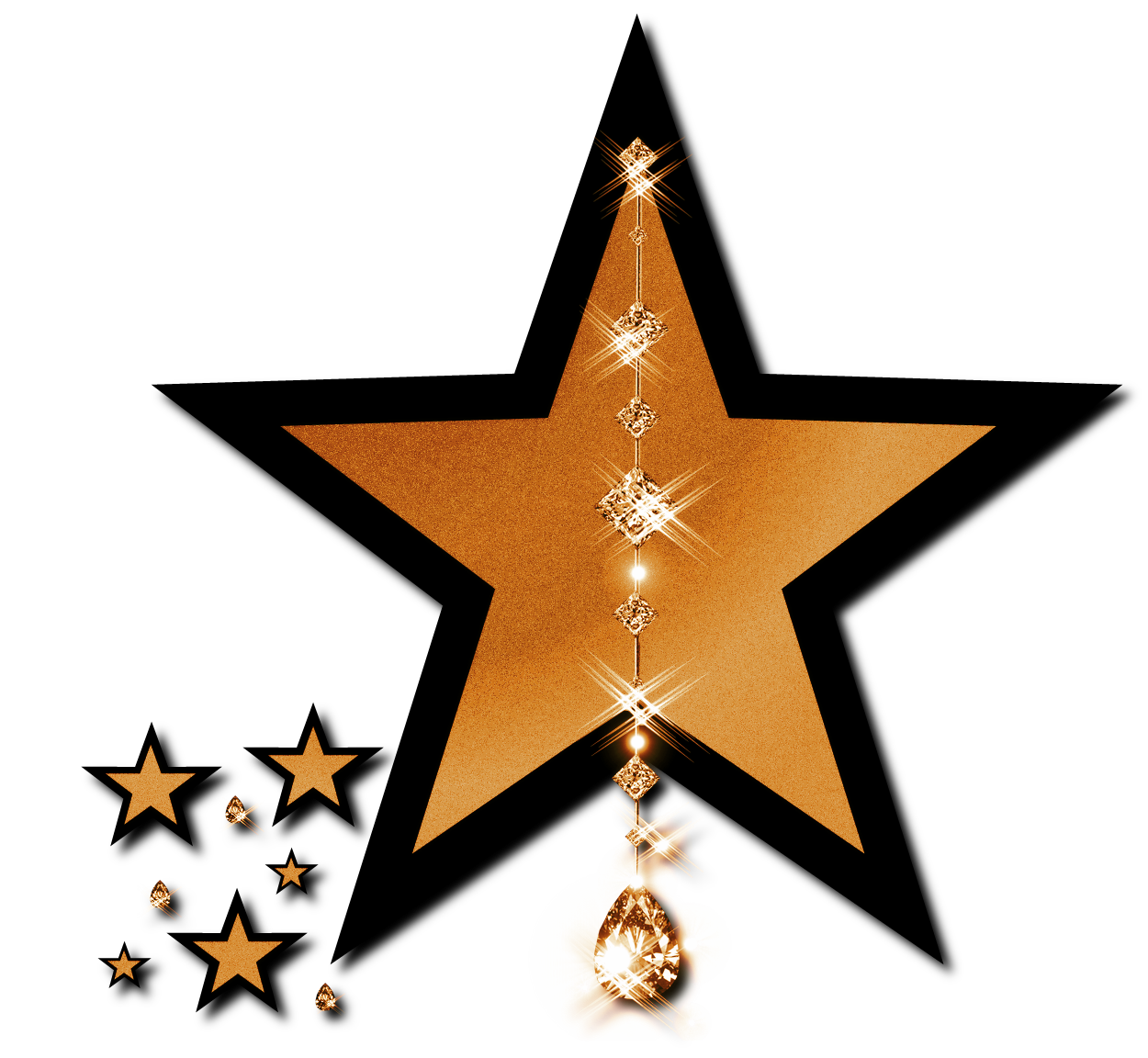 Gold star pencil and. Clipart stars trophy