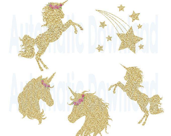 Clipart unicorn glitter. Watercolor printable golden