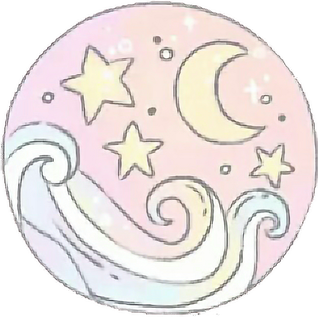 Pastel wave moon tumblr. Waves clipart aesthetic
