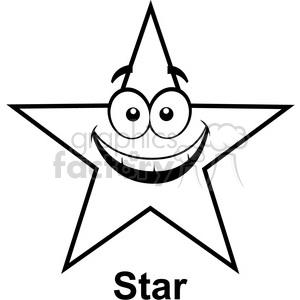 Geometry star cartoon face. Clipart stars math