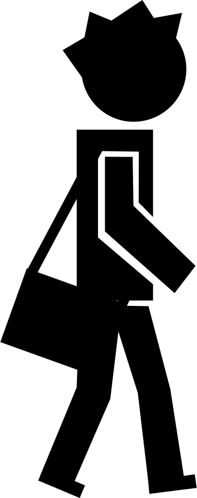 Walking with a bag. Student clipart icon