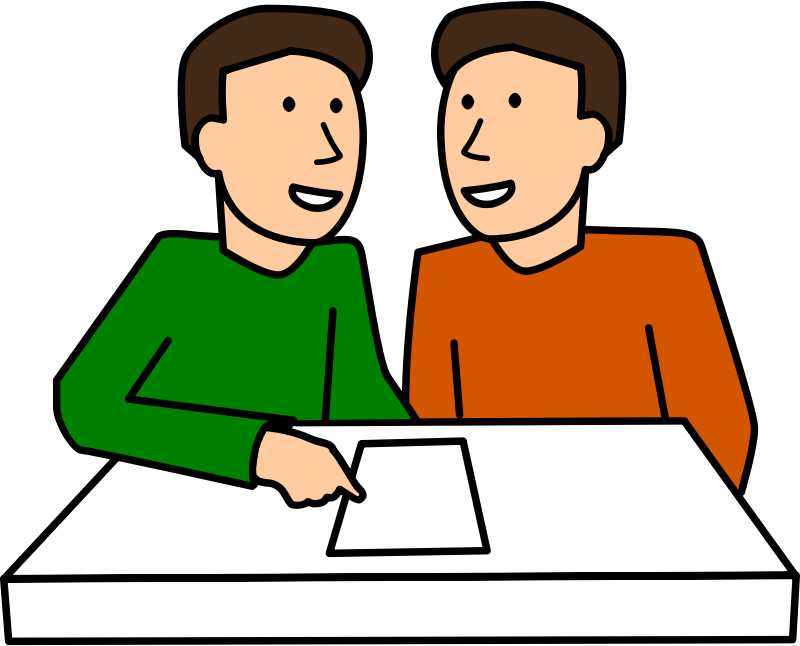 Students partner work two. Student clipart male