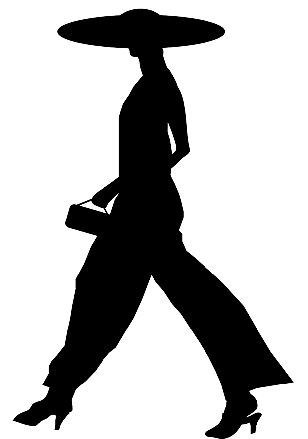 Female silhouette woman with. Lady clipart hat