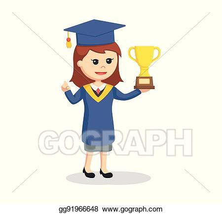 Vector illustration graduate female. Graduation clipart trophy