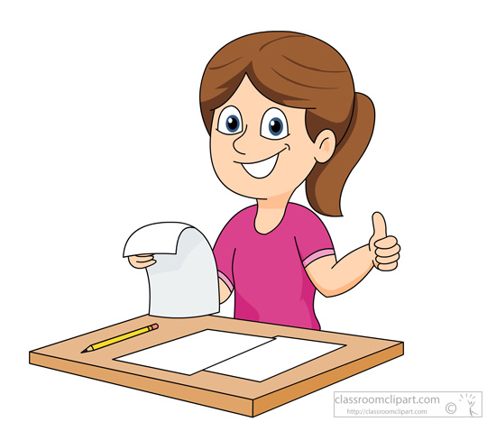 Excited student holding trophy. Writer clipart happy