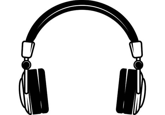 Headphones clipart sound. Music wave listening wireless