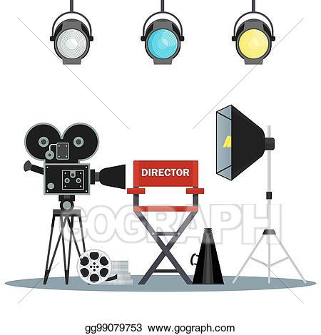 Eps vector studio stock. Film clipart video equipment