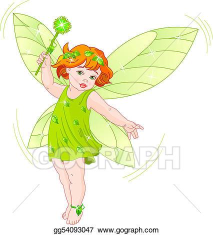 Vector illustration baby fairy. Fairies clipart summer