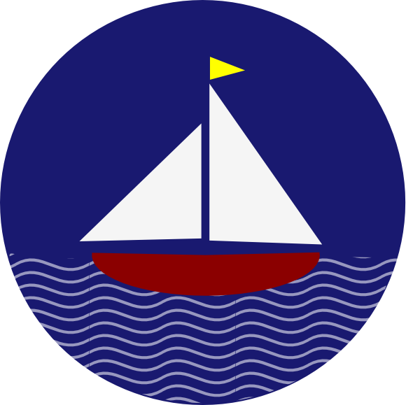 Sail boat with waves. Clipart wave sailboat