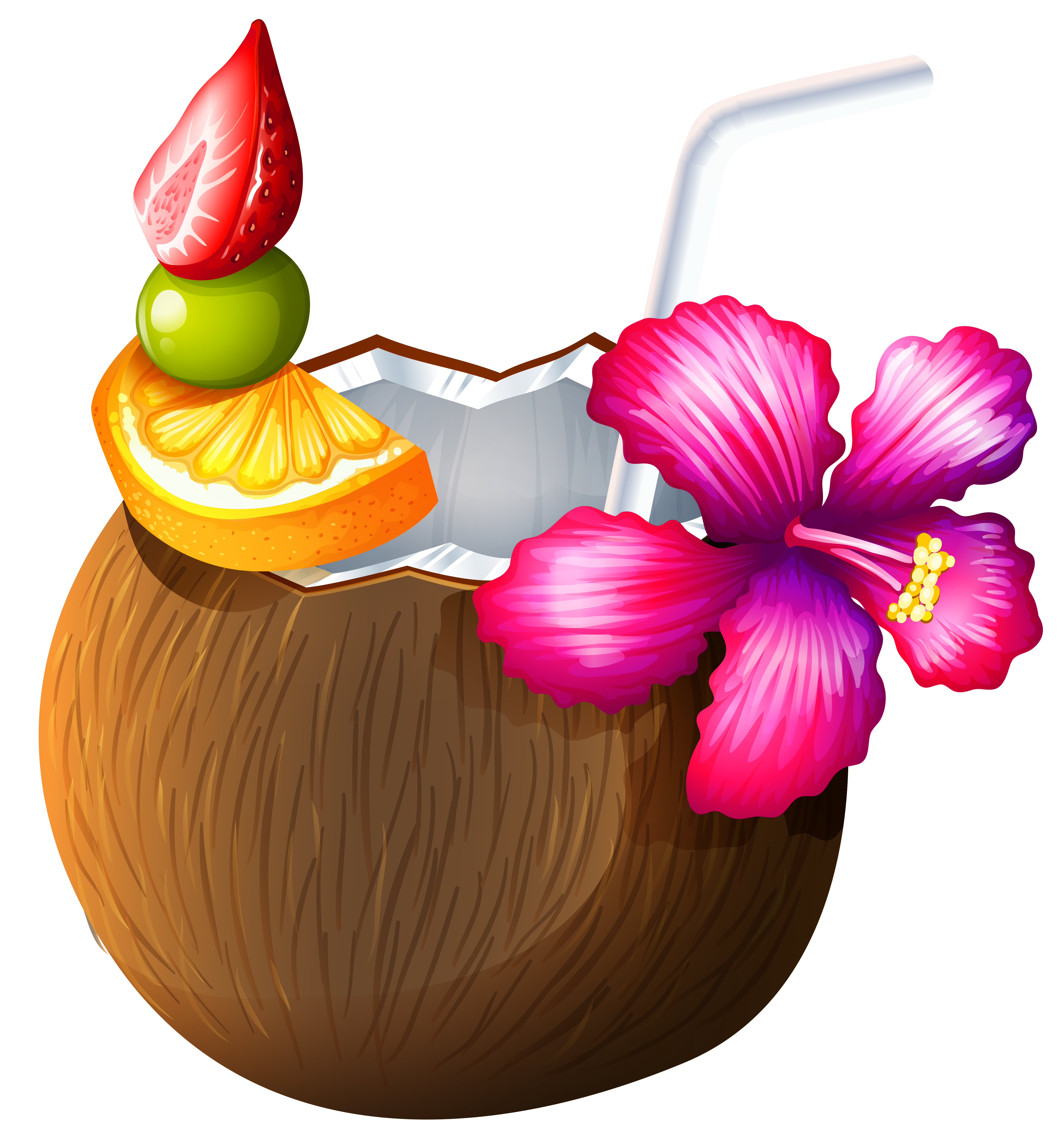Moana clipart exotic flower. Coconut drink clip art