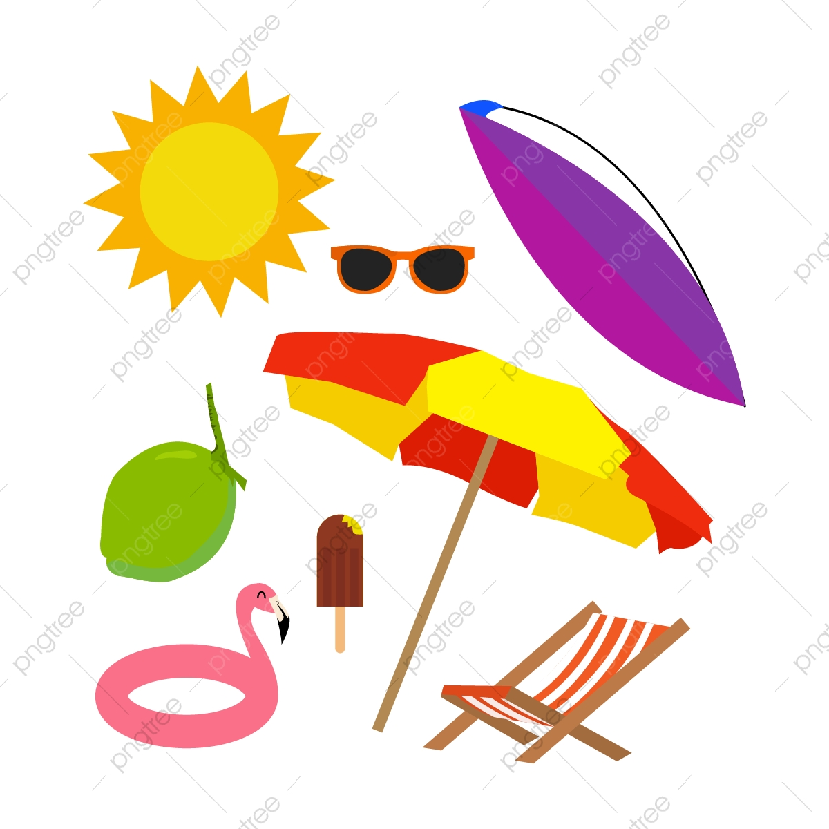 Clipart summer decoration. Flat style beach background