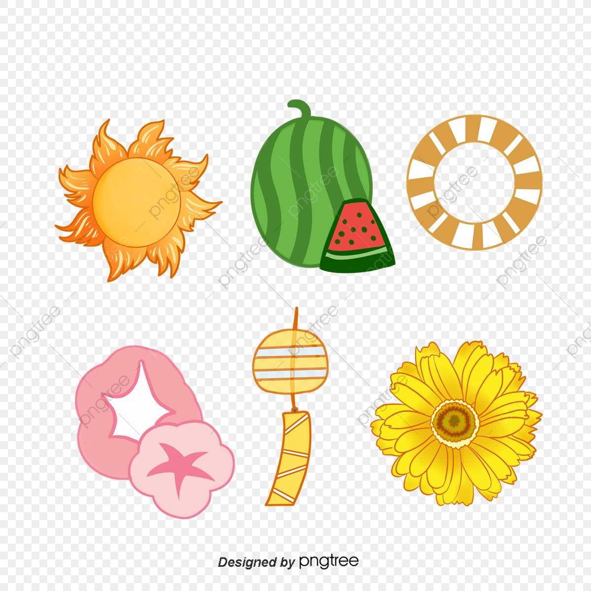 Assemblage sunflower sunlight png. Clipart summer element