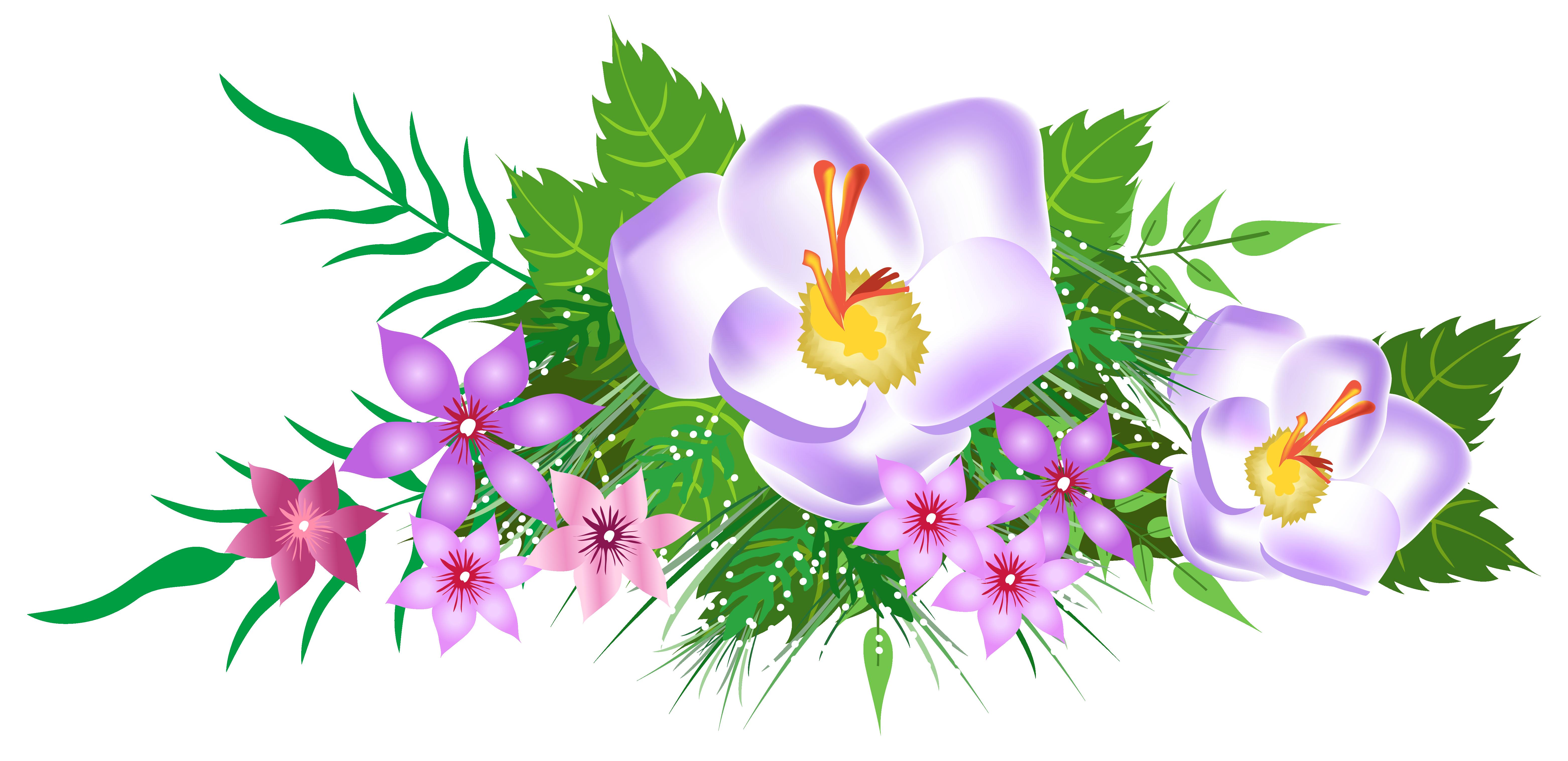 Flowers decorative png image. Clipart summer element