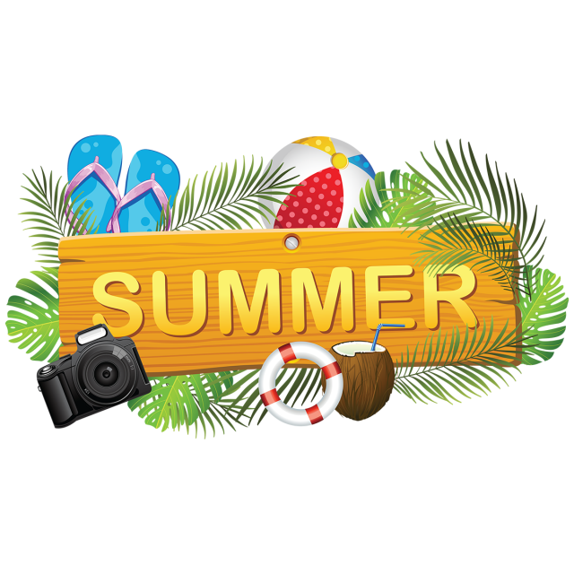 Creative board with elements. Clipart summer element