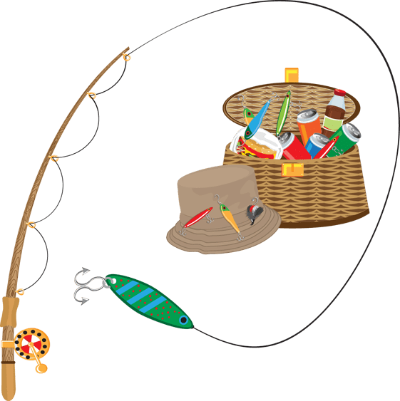 Free fly fishing lessons. Fish clipart bag