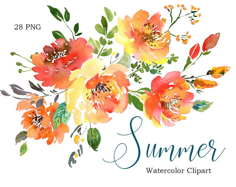 Clipart summer floral. Watercolor orange green flowers