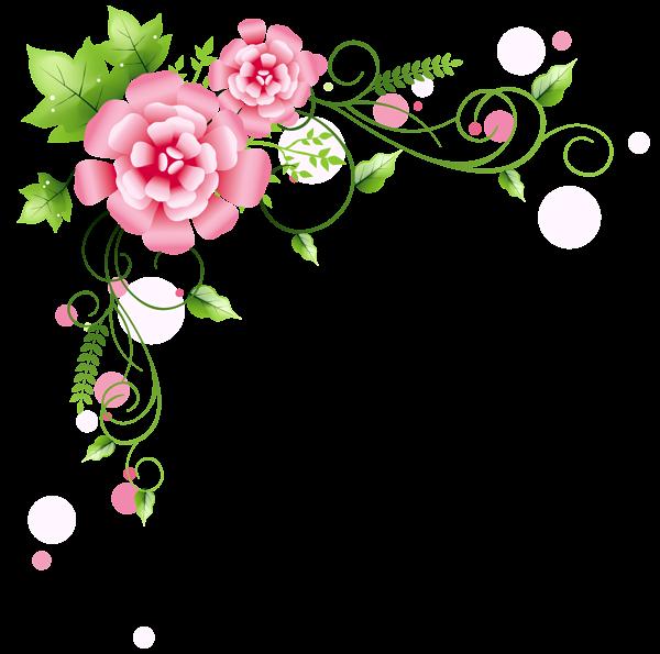 Clipart summer floral. Corner decoration png picture