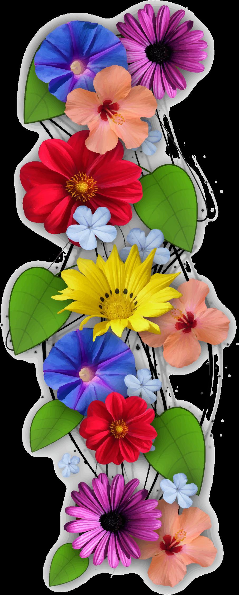 Vertical flowers. Clipart summer floral