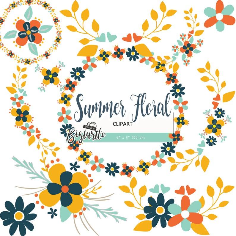 Digital vintage flower dpi. Clipart summer floral